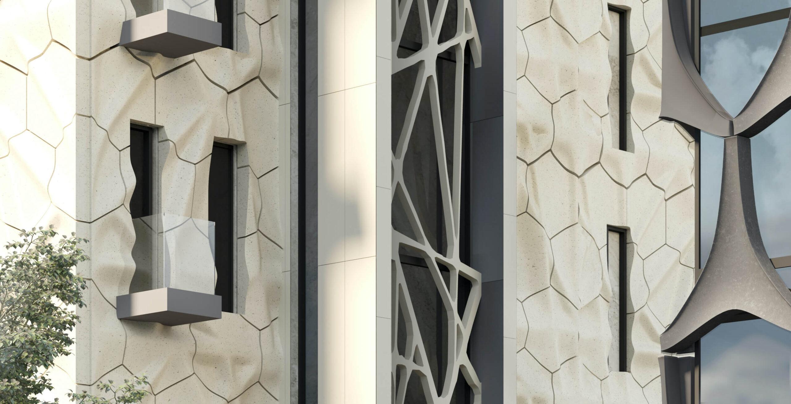 Стеклофибробетон - уличные фасады Volume Form