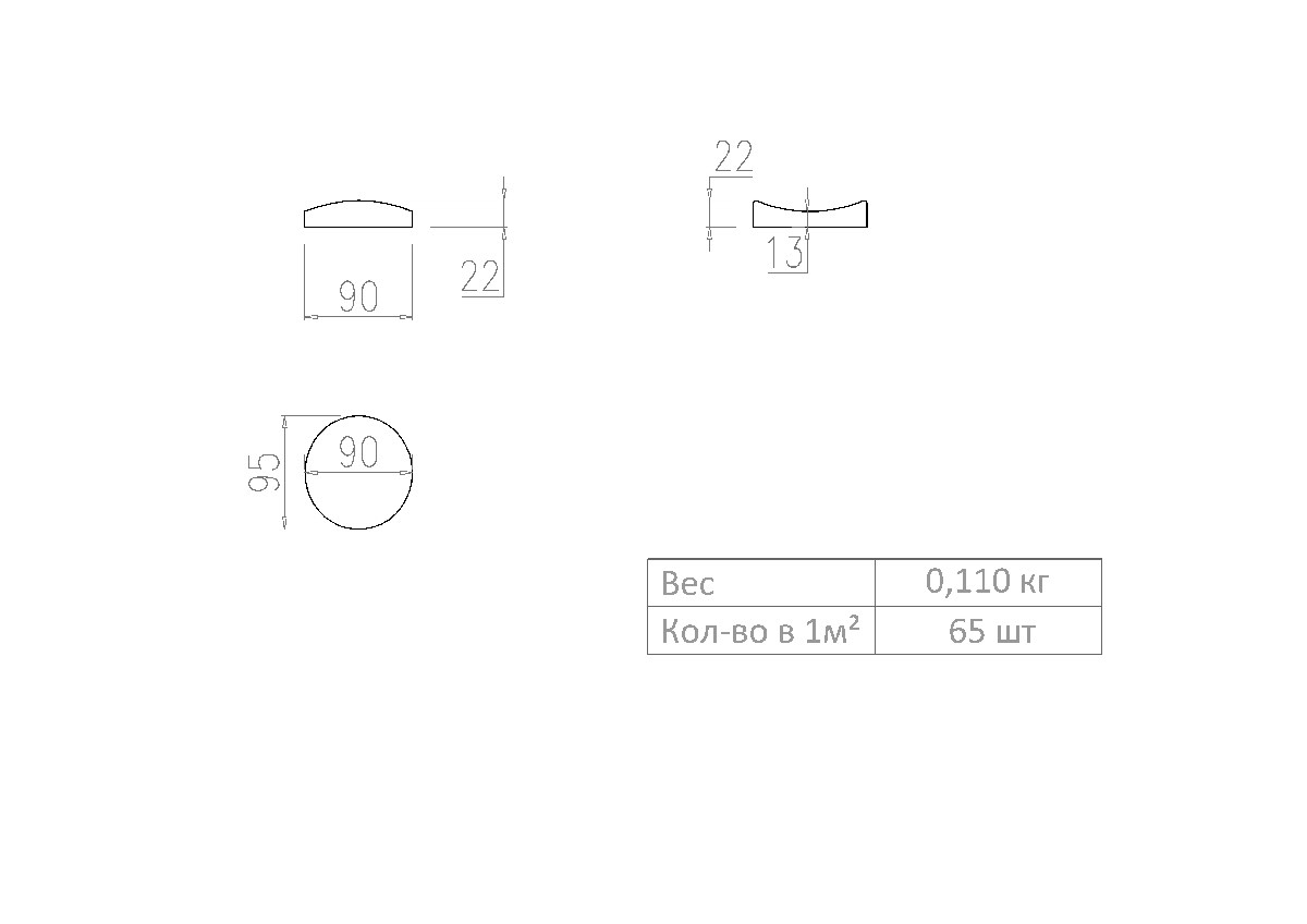 Примерные габаритные размеры 3д панели Pebble